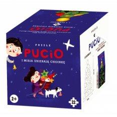 Pucio i Misia ubierają choinkę. Puzzle 22 elementy